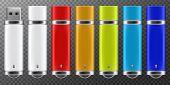 Usb Flash Drive. 3d Flash Disk Blank Mockup Set For Design. Vector Illustration poster