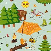 stock photo of fire ant  - Camping seamless pattern - JPG