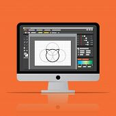Graphic Editor Software Icon On Desktop Computer. Vector Flat Design Illustration. poster