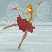 image of old-fashioned  - Beautiful ice skater - JPG