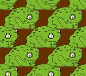 Frog Pattern Seamless. Toad Background Vector. Anuran Ornament poster