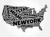 Usa Map Word Cloud Collage With Most Important Cities poster