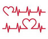Heartbeat Icons. Electrocardiogram, Ecg Or Ekg Isolated On White Background poster