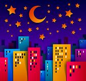 Cityscape In The Night With Moon And Stars Cartoon Vector Illustration In Paper Cut Kids Application poster