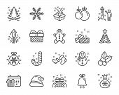 Christmas Line Icons. Set Of Santa Hat, Gingerbread Man And Gift Box Linear Icons. Fireworks, Snowfl poster