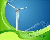 Ilustração em vetor de uma turbina eólica de geração de energia