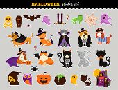 Happy Halloween - Stickers Set Of Cats And Dogs In Monsters Costumes, Halloween Party. Vector Illust poster