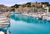 Puerto de Soller Port of Mallorca with llaut boats in balearic island