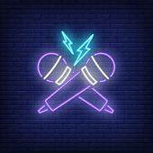 Rap Battle Neon Icon. Crossed Microphones And Lightning On Brick Wall Background. Show Concept. Vect poster