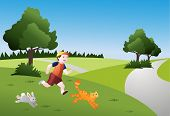 Child running with animals