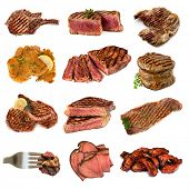 Collection of cooked meat images, isolated on white.  Includes beef and pork, steak, cutlets, filet