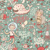 Funny vintage seamless pattern with whale and mermaid. underwater sea life
