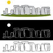 Um conjunto de desenhos do marco de Stonehenge.