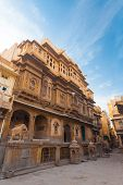 foto of prime-minister  - The intricately carved facade of the Nathmal Ki Haveli home former residence of the prime minister of Jaisalmer and major tourist attraction in Rajasthan India - JPG