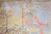 stock photo of aswan dam  - Preserved color hieroglyphics in the temple of Kalabsha near Aswan High Dam  - JPG