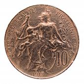 stock photo of liberte  - Vintage France coin with the French republic represented as a beautiful woman - JPG