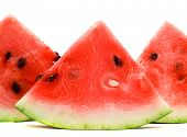 Appetizing slices of watermelon isolated on white