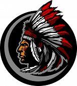 American Native Indian Chief Mascot Head Vector Graphic