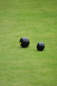 picture of crown green bowls  - photograph showing two bowls on bowling green - JPG