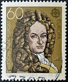GERMANY - CIRCA 1980: stamp printed in Germany shows Gottfried Wilhelm Leibniz circa 1980