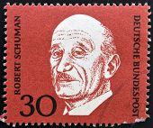 A stamp printed in Germany shows Robert Schuman