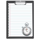 Clipboard with paper and stopwatch