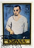 A stamp printed in Spain shows self-portrait by Pablo Picasso