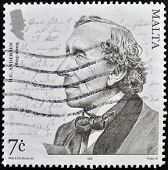 A stamp printed in Malta shows Hans Christian Andersen circa 2005