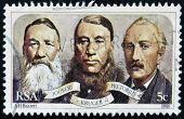 A stamp printed in RSA shows Joubert Kruger and Pretorius