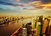 stock photo of barge  - Pudong skyline at sunset Shanghai of China - JPG