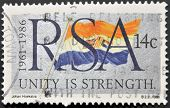 Republic Of South Africa - Circa 1986: A Stamp Printed In Rsa Shows The Flag, Circa 1986