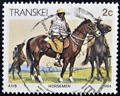 REPUBLIC OF SOUTH AFRICA - CIRCA 1984: A stamp printed in Transkei shows horseman circa 1984