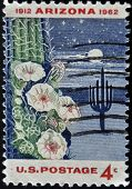 stamp printed in USA shows Giant Saguaro Cactus Arizona Statehood