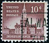 USA - CIRCA 1954: A stamp printed in USA shows Independence Hall circa 1954