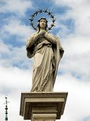 Statue Of Virgin Mary Immaculate In Front Of The Monastery Of Jasna Gora In Czestochowa