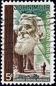stamp printed in USA shows the portrait of a John Muir