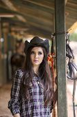 Attractive Woman At Horse Ranch