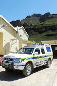 Police car at Sani Pass border control between South Africa and Lesotho