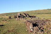 Ahu Vinapu platform with fallen moui at the Easter Island, Chile