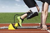 picture of prosthesis  - Start position of an  athlete with handicap - JPG
