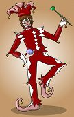 Dancing man in red and white Harlequin wearing