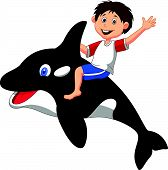 Cartoon boy riding orca