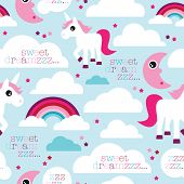 Seamless sweet dreams unicorn and rainbow dream baby girl night illustration background pattern in vector