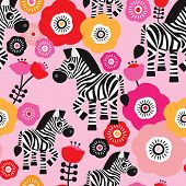 Seamless zebra safari flower kids illustration background pattern in vector