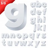 Vector alphabet of simple 3d letters. Sans bold. Small cases white