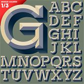 Vector illustration of old school beveled alphabet. Simple colored version. Upper case