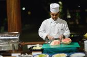 picture of buffet catering  - catering buffet food indoor in luxury restaurant with meat colorful fruits  and vegetables - JPG