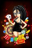 stock photo of gambler  - illustration of woman with casino playing card - JPG