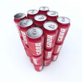 3D rendering of a neat pile of soda cans