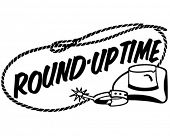 Round-Up Time Banner - Retro Clip Art Illustration